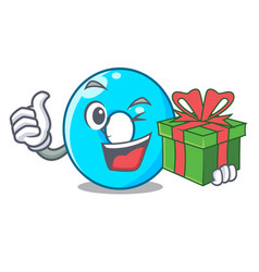 with gift cartoon the number zero color blue vector image
