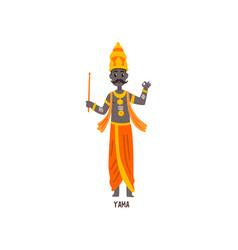Yama indian god cartoon character vector