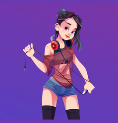 young asian woman dj with headphones vector image