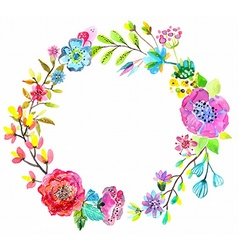 Flower watercolor wreath for beautiful design vector image