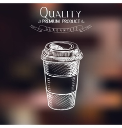 hand drawn doodle sketch vintage paper cup of vector image vector image