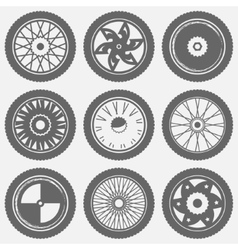 Motorcycle wheel icons vector image vector image