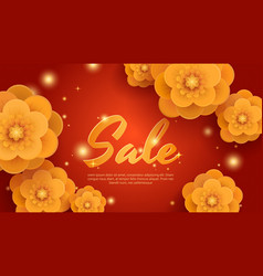 sale red background with gold paper flowers vector image