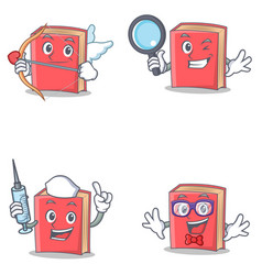 Set of red book character with cupid detective vector