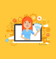 woman money in hand online vector image