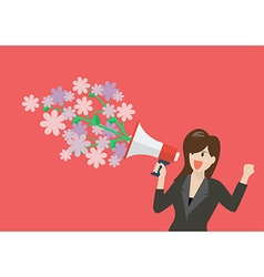 Business woman holding a megaphone with flowers vector image