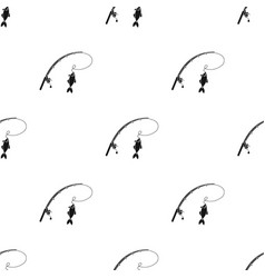 fishing rod and fish icon in black style isolated vector image