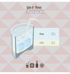 gin and tonic cocktail flat style isometric vector image