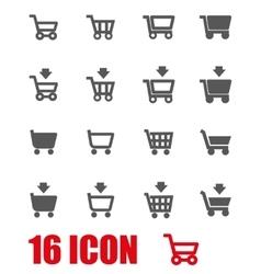 grey shopping cart icon set vector image vector image