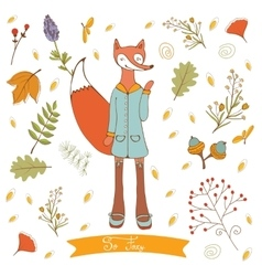 Hello autumn elegant card with cute fox character vector image