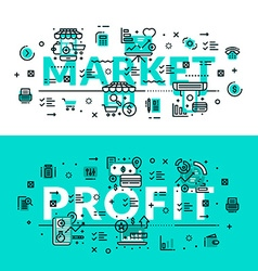 Market and profit heading title web banner vector