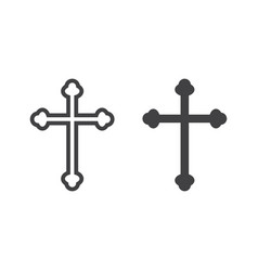 religion cross line and glyph icon easter vector image
