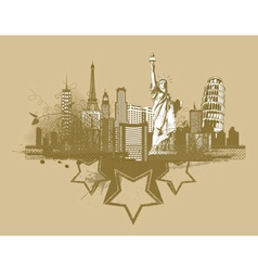 vintage city background vector image vector image