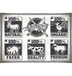 Vintage Page for Butcher Shop Labels vector image vector image