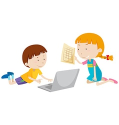 Boy and girl working on computer vector image vector image