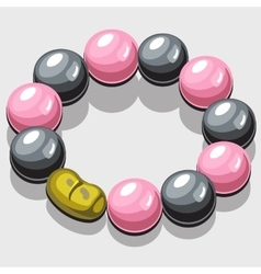 Bracelet with black and pink pearls vector image