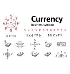 Dollar Euro Pound Yen Ruble Rupee Shexel vector image vector image