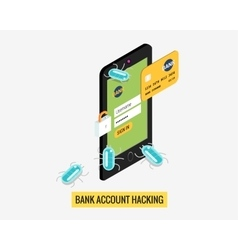 Hacker activity mobile phone and viruses bank vector