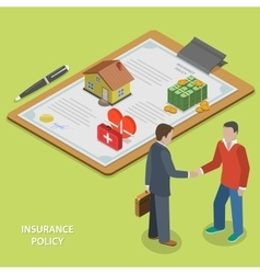 Insurance policy deal flat isometric vector image vector image