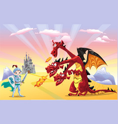 Knight and dragon vector image