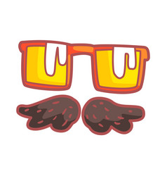 Mustache and glasses colorful cartoon vector