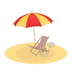 on a summer theme umbrella and chaise longue vector image vector image
