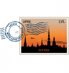 postmark from Latvia vector image vector image