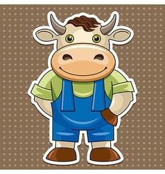 artoon cute bull vector image vector image