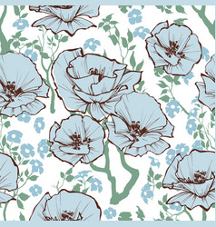 blue flowers pattern a romantic old-fashioned vector image