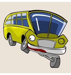 Cartoon character yellow bus fun winks vector