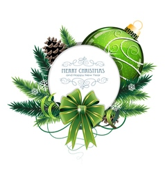 Christmas card with green bauble vector image vector image
