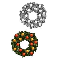 Christmas fir wreath with balls sketch vector image