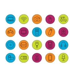 Digital devices linear icons set vector image vector image