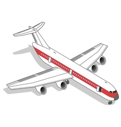 Isometric white airplane with red stripe vector image