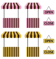 Market stall Yellow and Pink color with open sign vector image