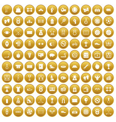 100 basketball icons set gold vector image
