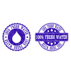 100 fresh water grunge stamp seals vector image