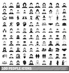 100 people icons set in simple style vector image