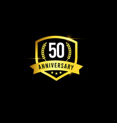 50 years anniversary gold emblem old design logo vector