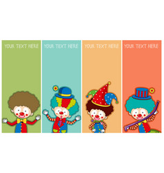 banner template with happy clowns vector image