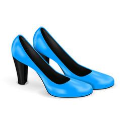 Blue shoes women high heels 3d vector