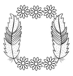Bohemian frame with feathers and flowers vector