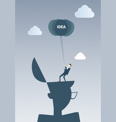 Business man hold new creative idea concept vector