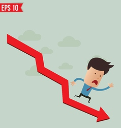 Business man run over the graph - - EPS10 vector image