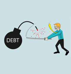 Businessman cut debt bombs vector