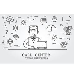 Call center thin line design Call center pen Icon vector image