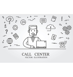 call center thin line design center pen icon vector image