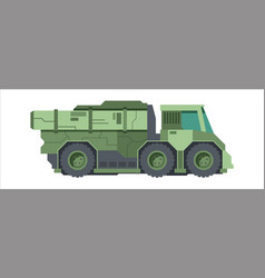 camouflaged military truck green wheeled lorry vector image
