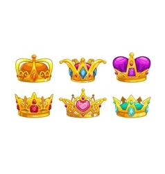 Cartoon royal crown icons set vector image