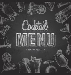 Chalk drawing typography cocktail menu design vector